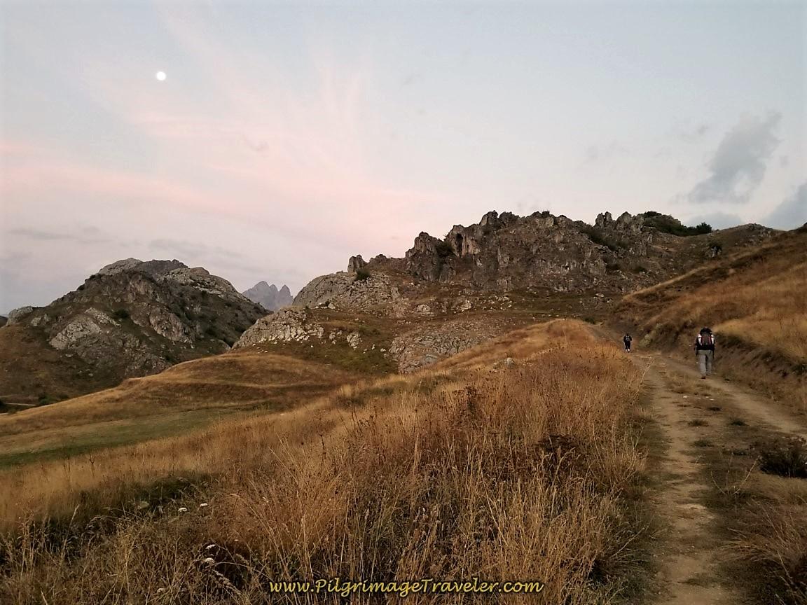 Sunrise walking in the Cantabrian Mountains along the Camino de San Salvador