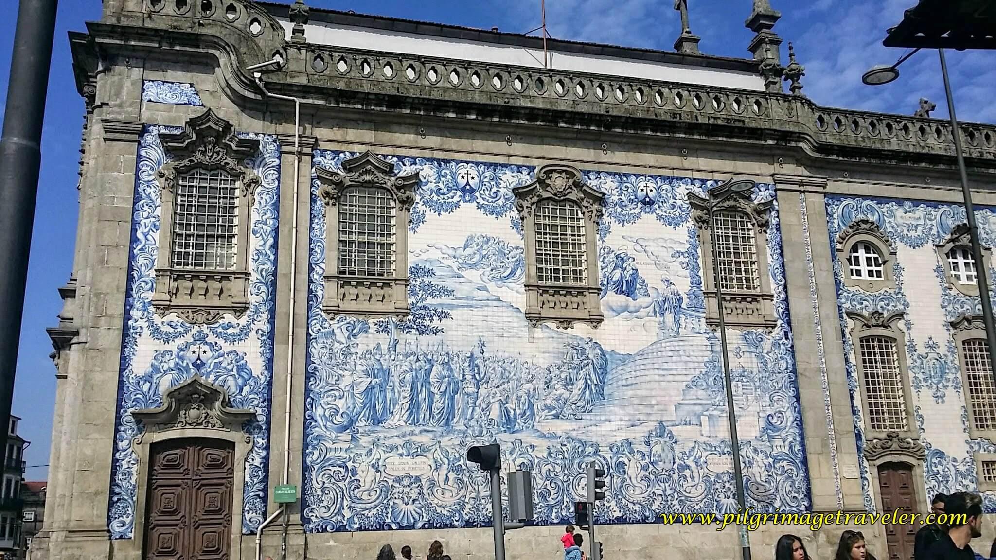 Azulejos Blue Tile, line the wall of the  Igreja do Carmo in Porto, Portugal