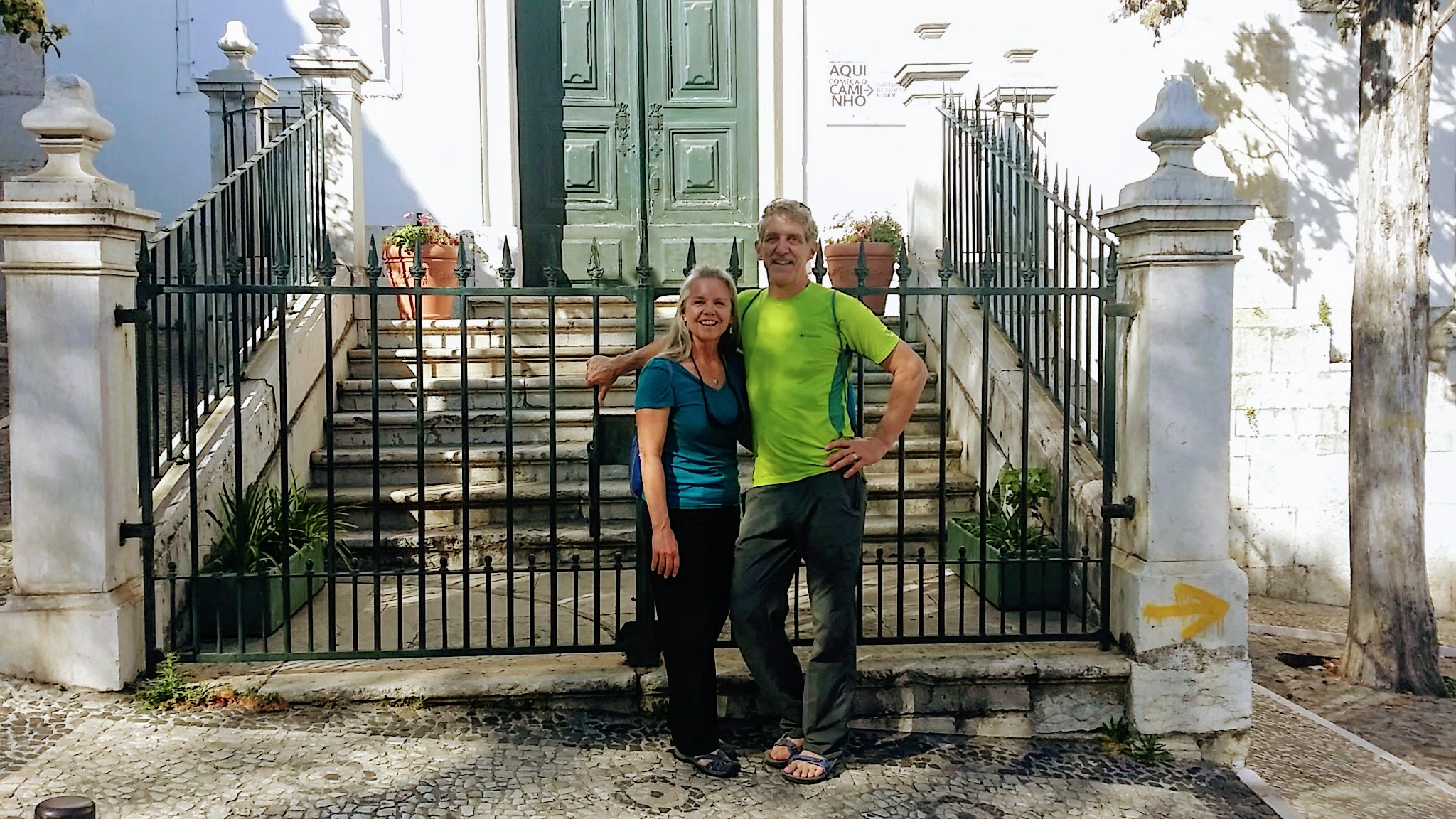Elle and Rich at the Official Start of the Camino Portugués
