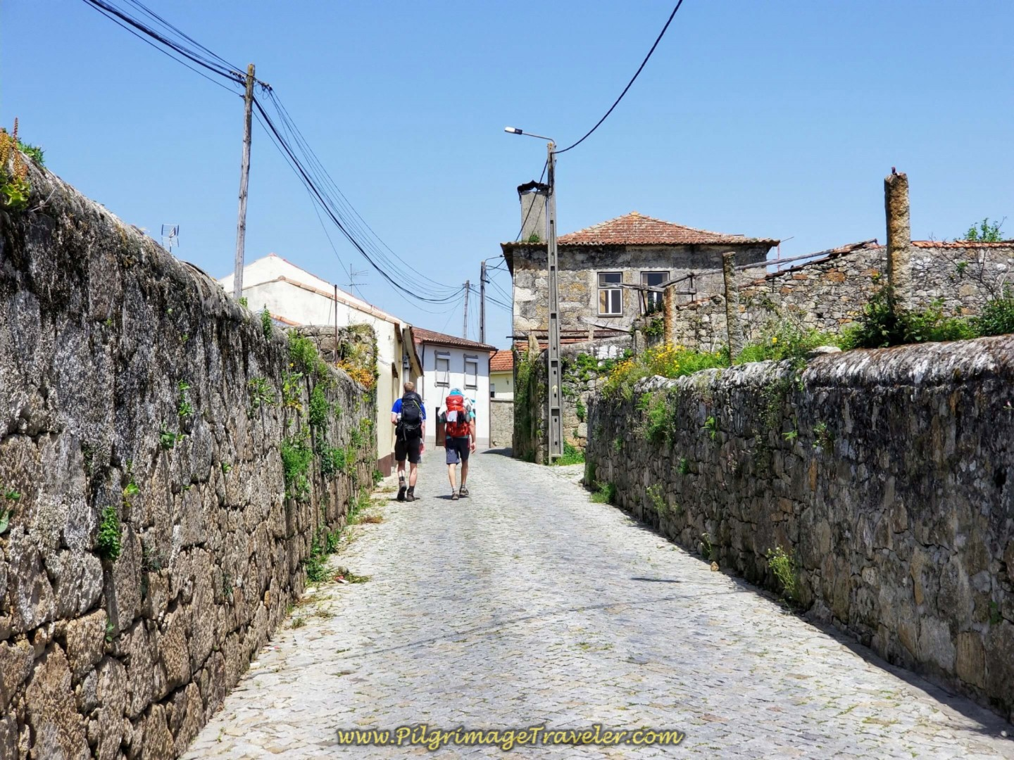 High-Walled Road Through Tresval on day fifteen on the Central Route of the Portuguese Way