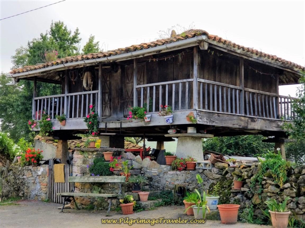 Hórreos and Flowers in San Miguel de la Pereda