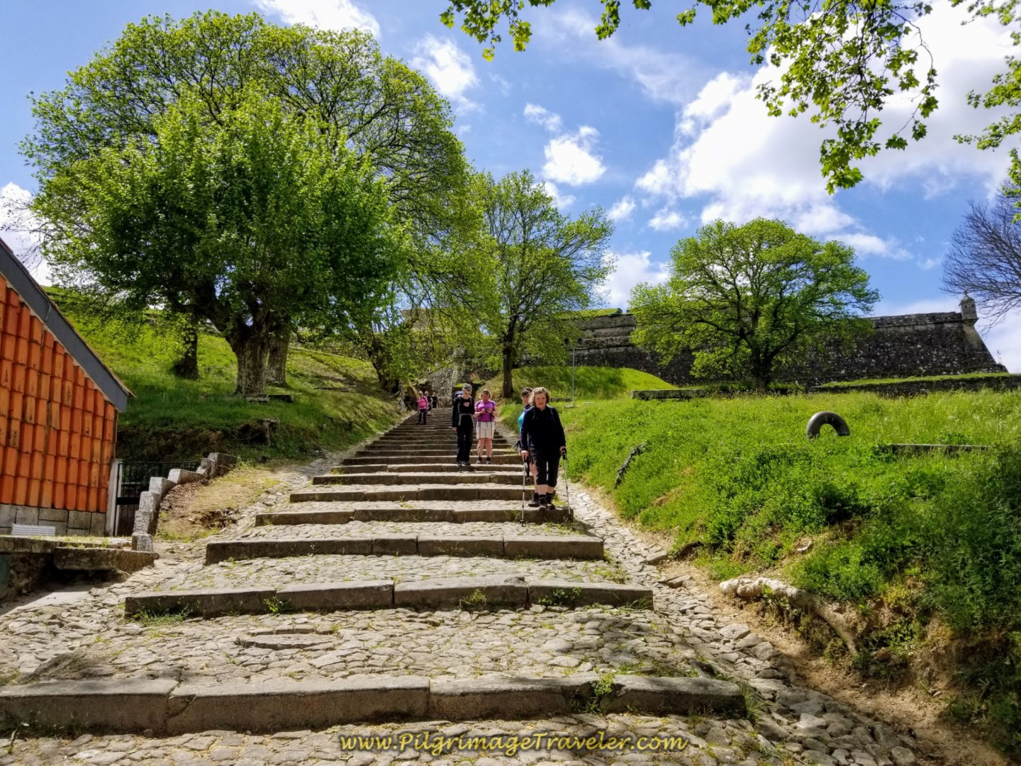Steps Leading to the Rio Minho on day nineteen on the Central Route of the Portuguese Camino