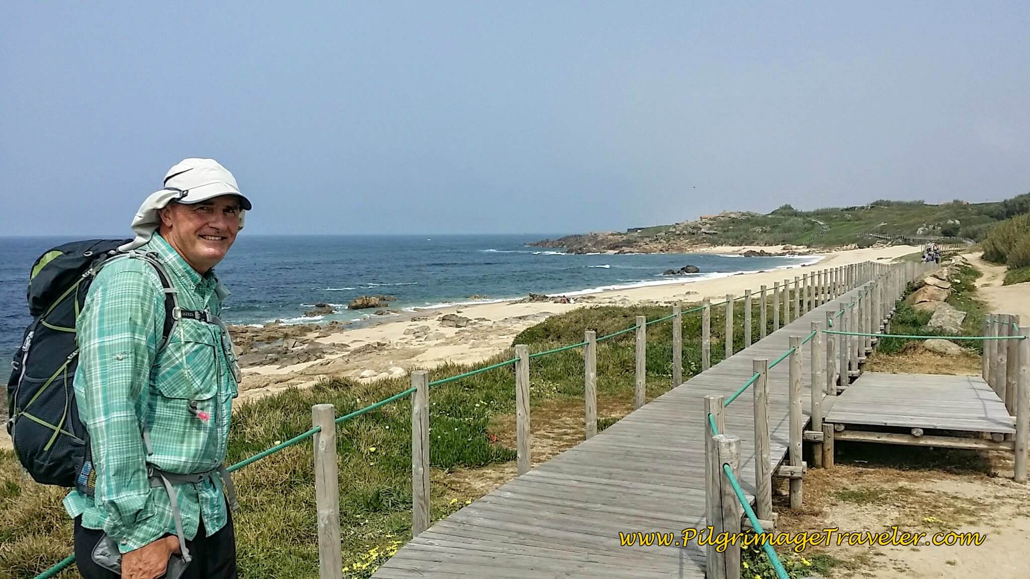 Rob, the Aussie, Walking the Boardwalk Toward São Paio on day fifteen of the Camino Portugués on the Senda Litoral