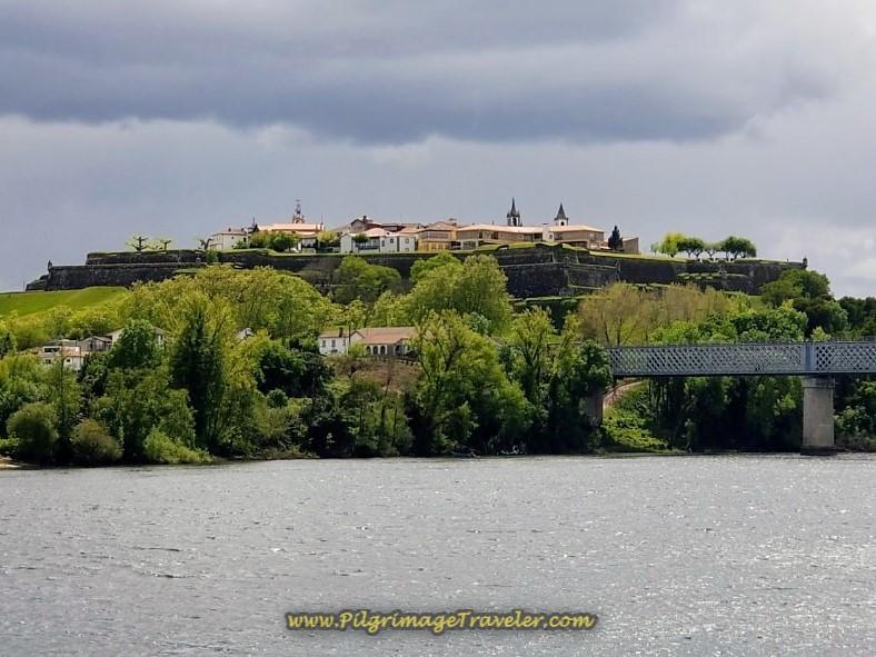 View of Valença's fortifications from Tui and the Minho River, with the international bridge between Portugal and Spain on the right on day nineteen on the Central Route of the Portuguese Camino