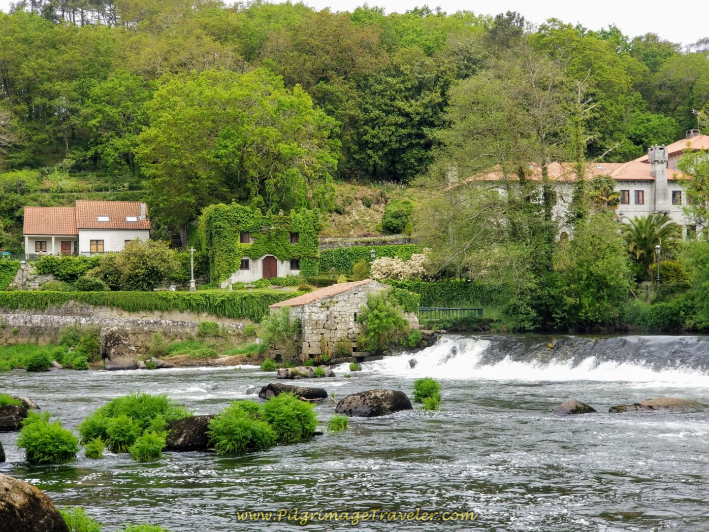 The Dam at the Medieval Bridge on day one of the Camino Fisterra