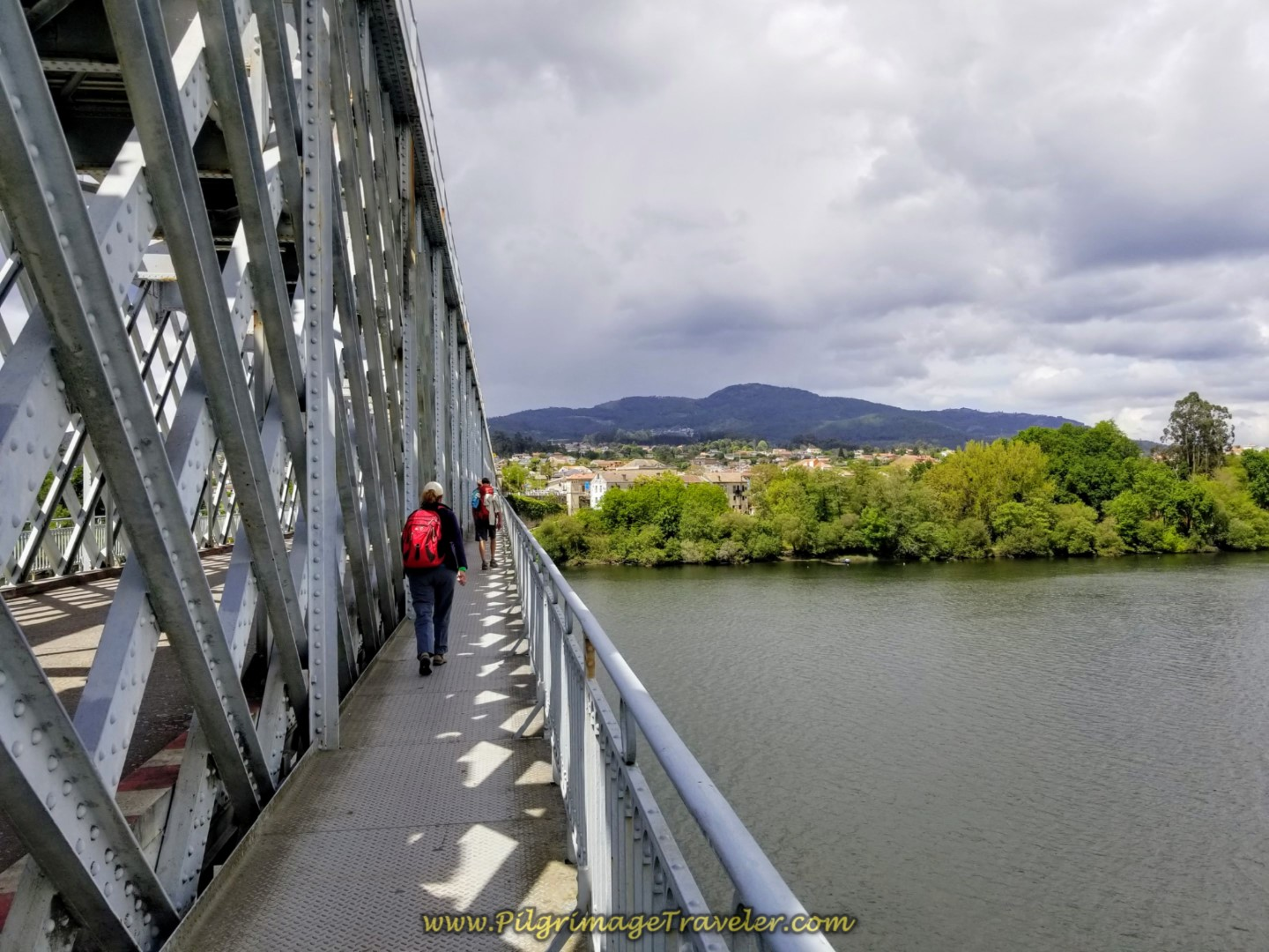 Pedestrian Walkway on the International Bridge from Portugal to Spain on day nineteen on the Central Route of the Portuguese Camino