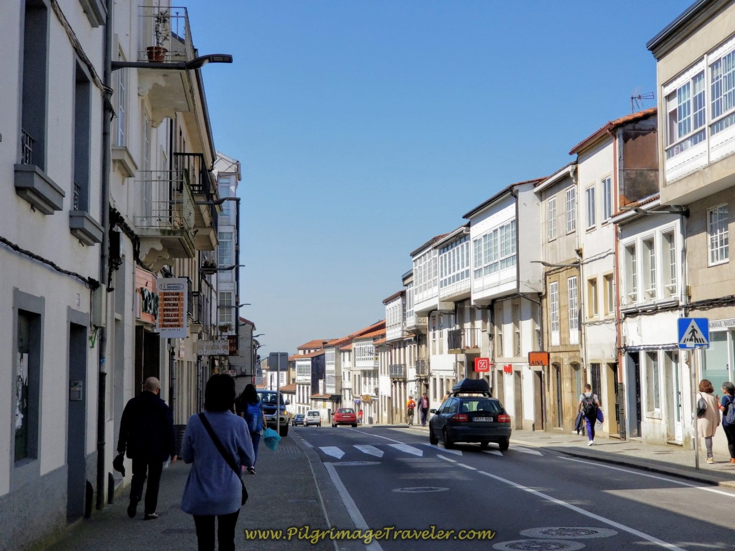 Walking Along the Rúa dos Basquiños in Santiago de Compostela on day eight of the English Way