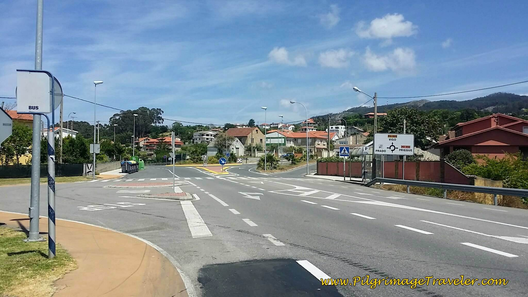 Straight On at Intersection in Prado on day twenty, Camino Portugués on the Senda Litoral