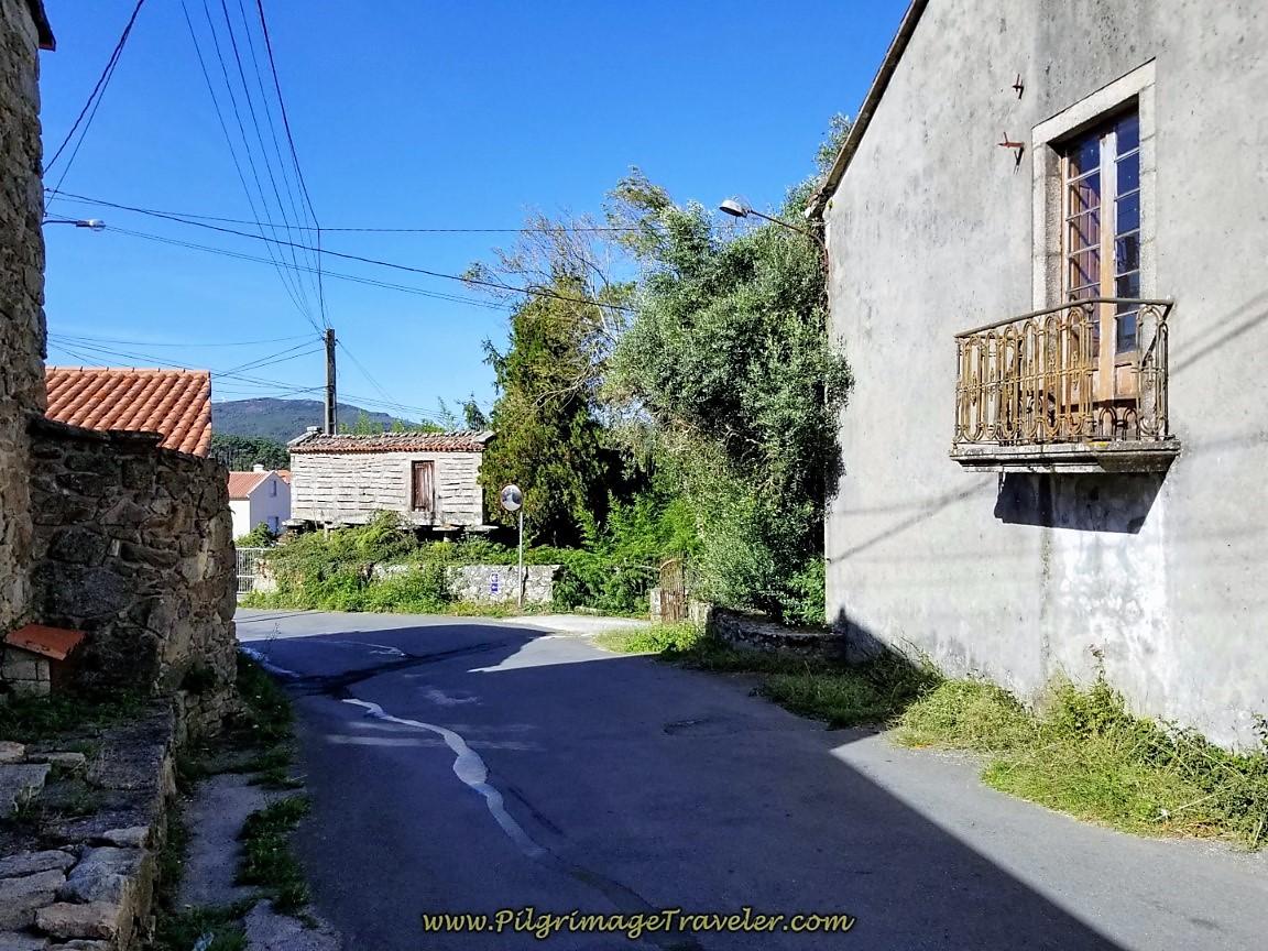 Walking Through Os Muíños on day three of the Camino Finisterre to Muxía