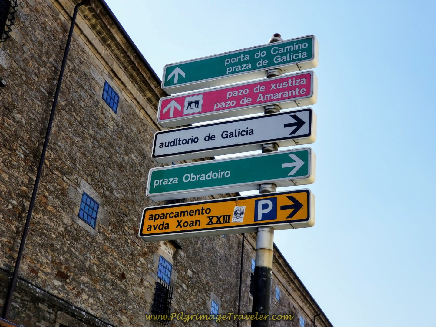 Signpost for Obradoiro Square! on day eight of the English Way