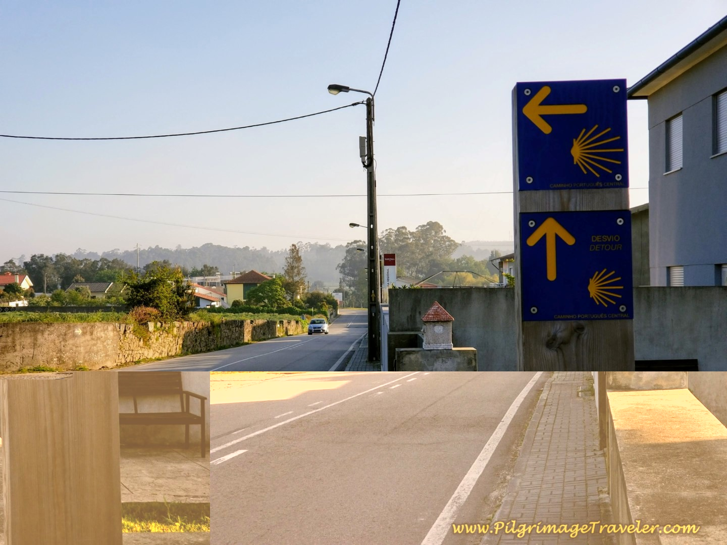 Close-Up of Signs at Decision Point on day sixteen on the Central Route of the Portuguese Way