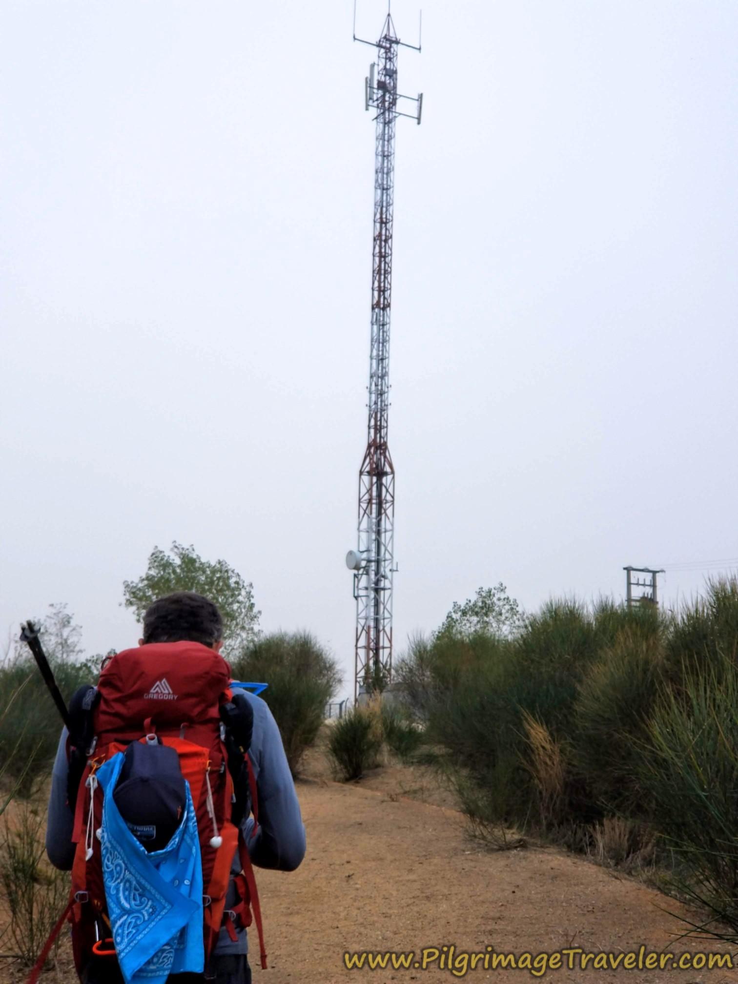 Cell Tower at Top of Second Overpass on the Vía de la Plata from Cañedino to Villanueva de Campeán