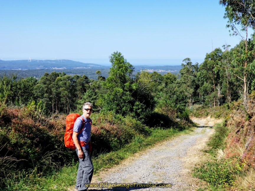 Rich on the High Gravel Road on day three of the Camino Finisterre to Muxía