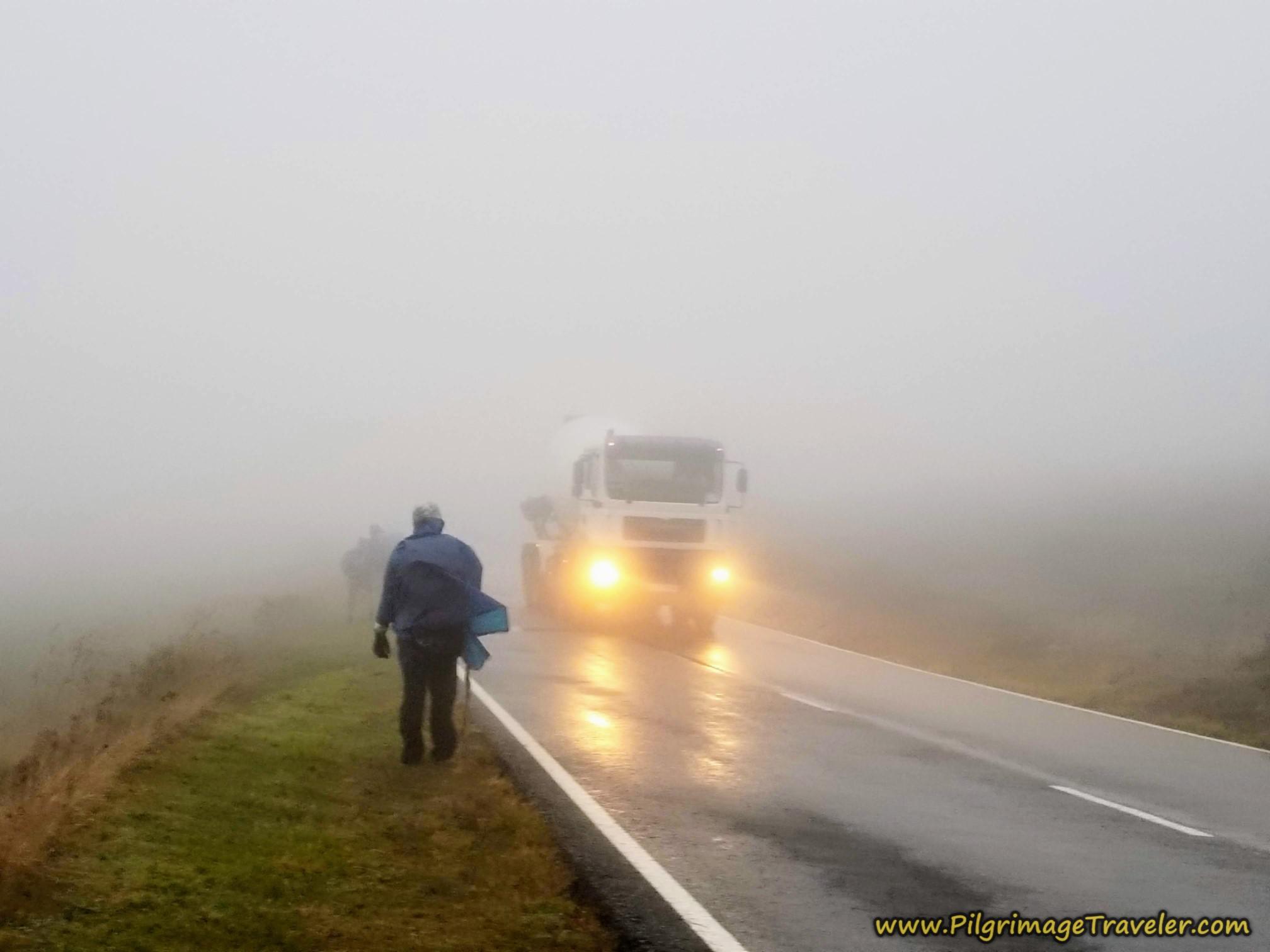 Negotiating Trucks in the Rain on the Camino Sanabrés from A Gudiña to A Venda da Capela