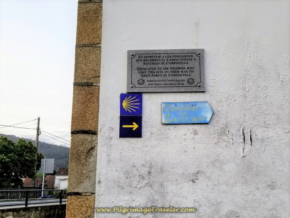 Commemorative Plaque to Pilgrims at the Iglesia de Santa María de Neda on day two of the Camino Inglés