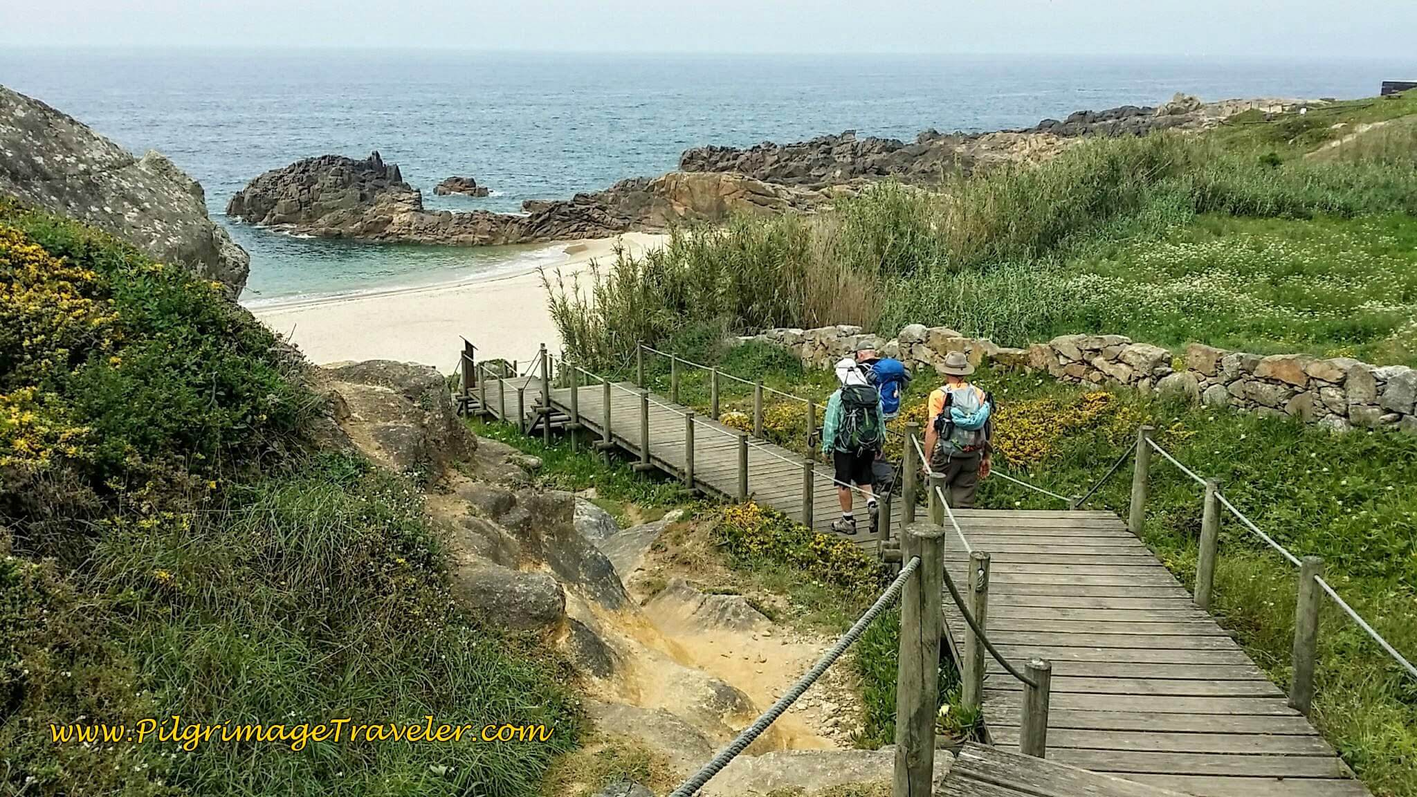 Following the Gents on the Boardwalk Along the Praia de São Paio on day fifteen of the Camino Portugués on the Senda Litoral