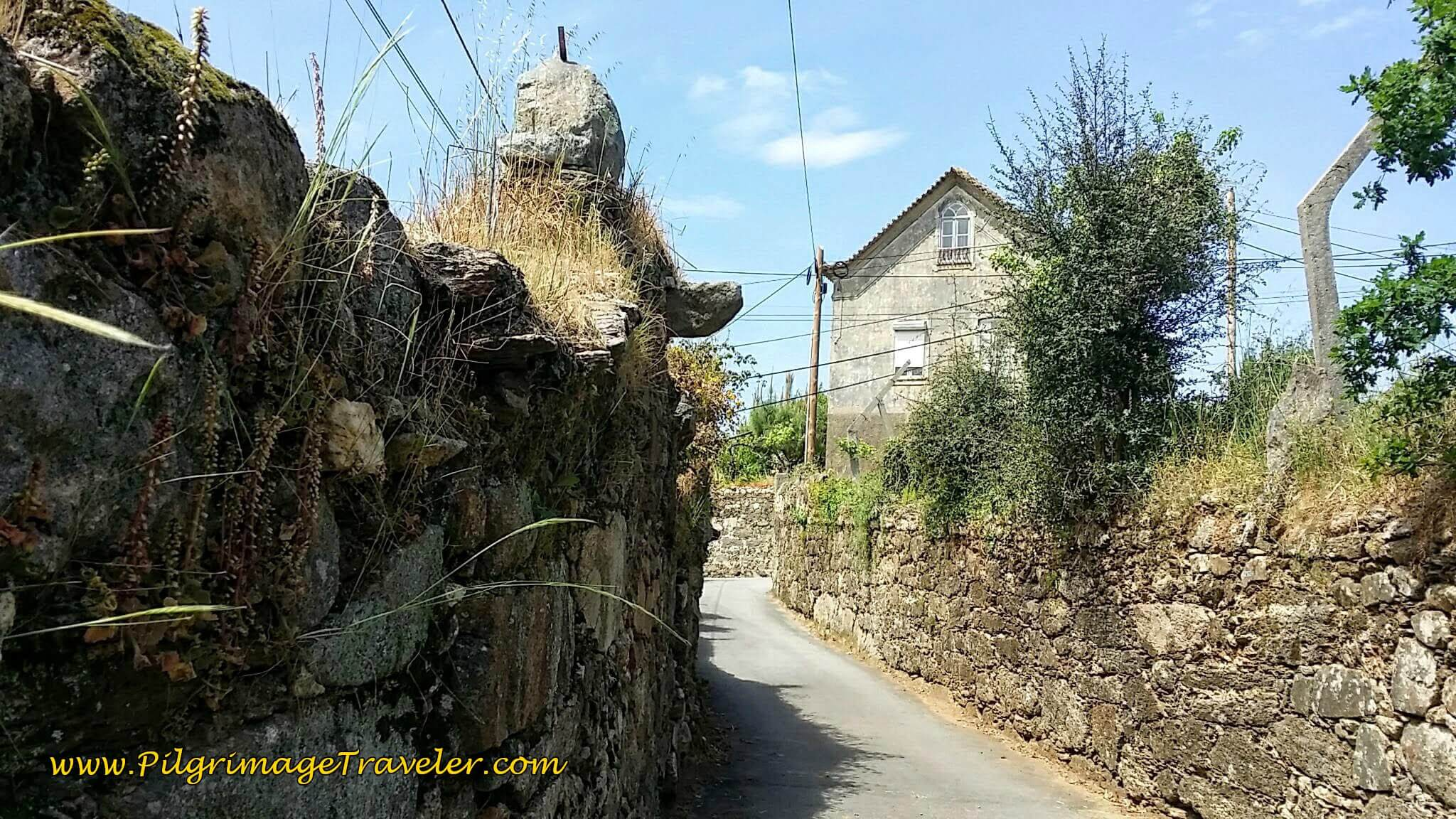 Quaint High Walls on the Rua Dom Crisostomo de Aguiar on day thirteen of the Portuguese Camino