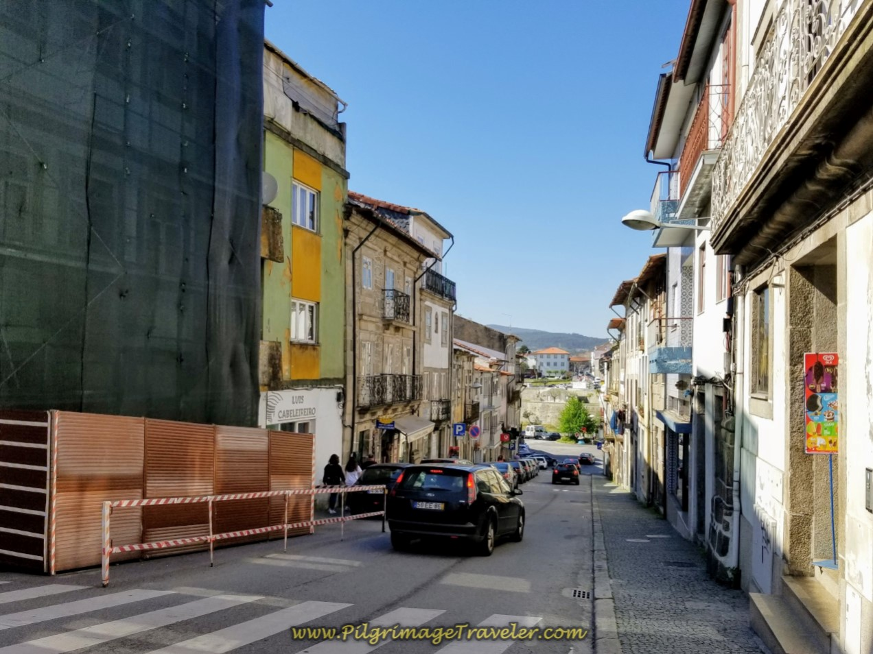 Down the Hill to the Cádavo River on day sixteen on the Central Route of the Portuguese Way