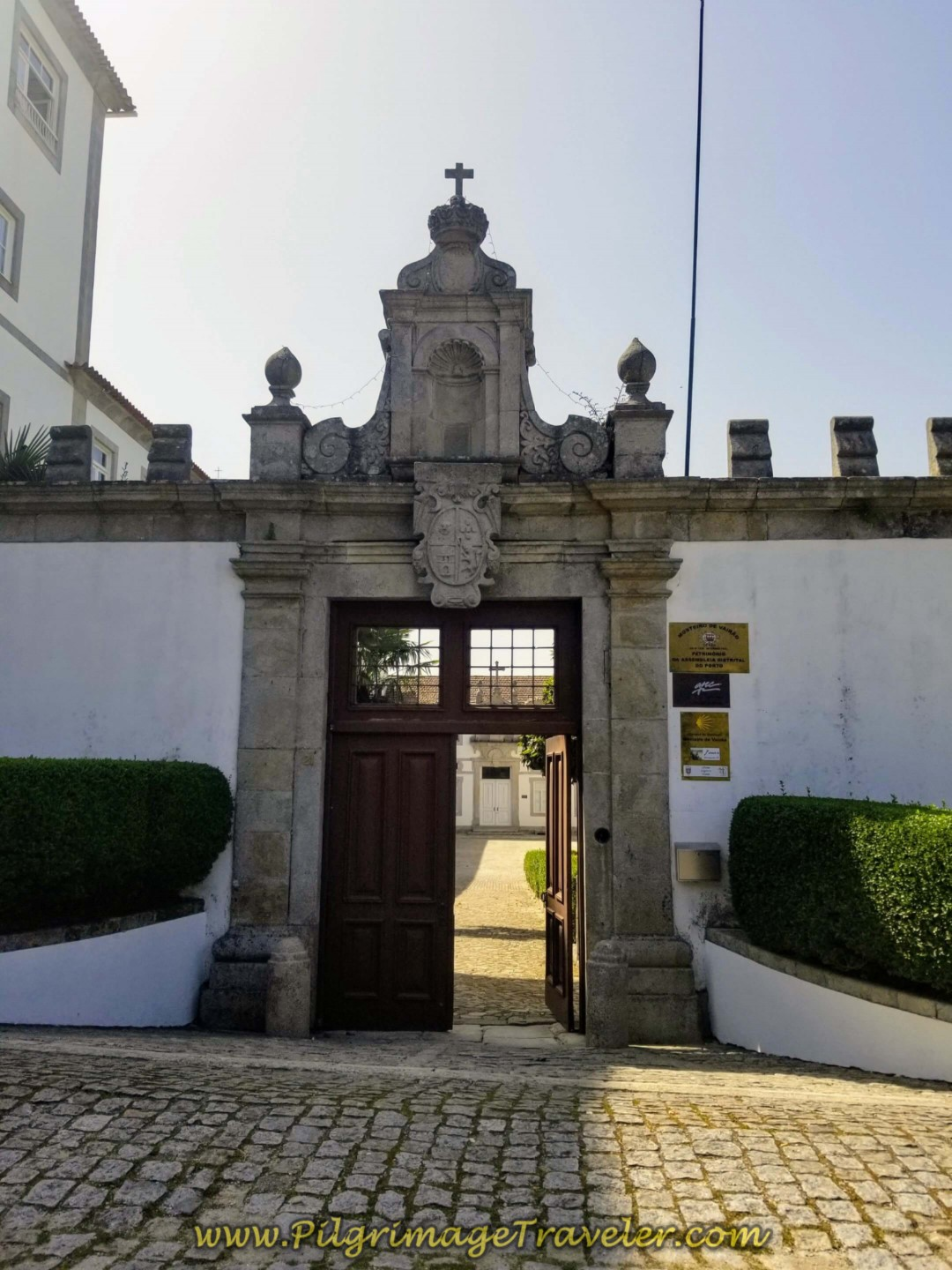 Entrance Gate to the Albergue de Peregrinos do Mosteiro de Vairão on day fifteen on the Central Route of the Portuguese Way