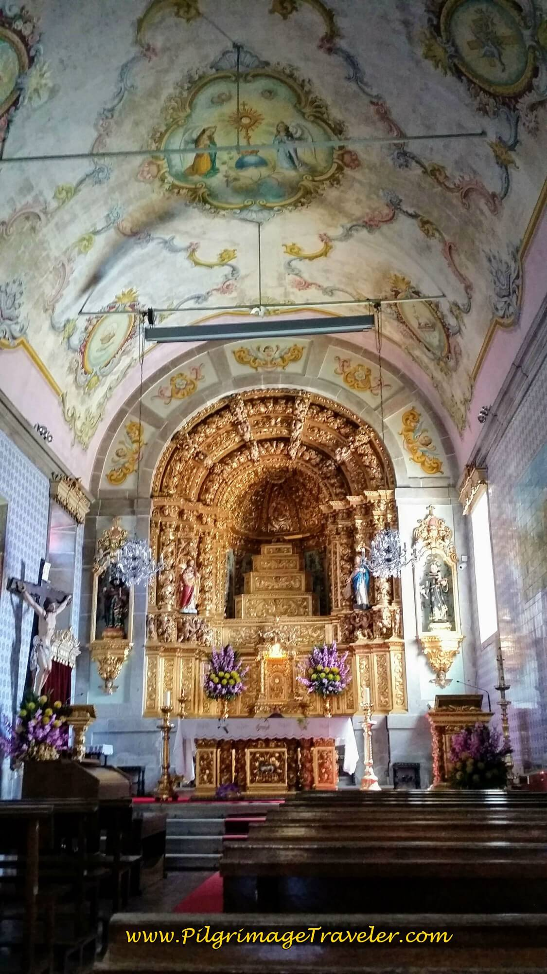 Gilded Altar and Murals in the Church on day seventeen of the Portugese Way