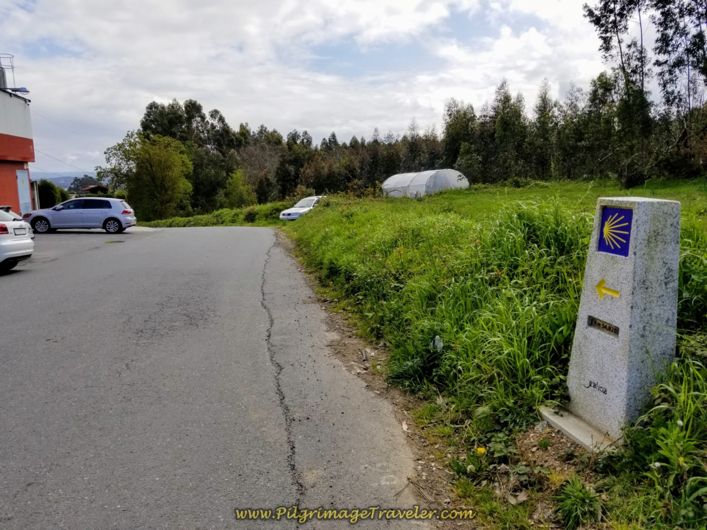 54.8 Kilometer Marker on day one of the La Coruña Arm of the Camino Inglés