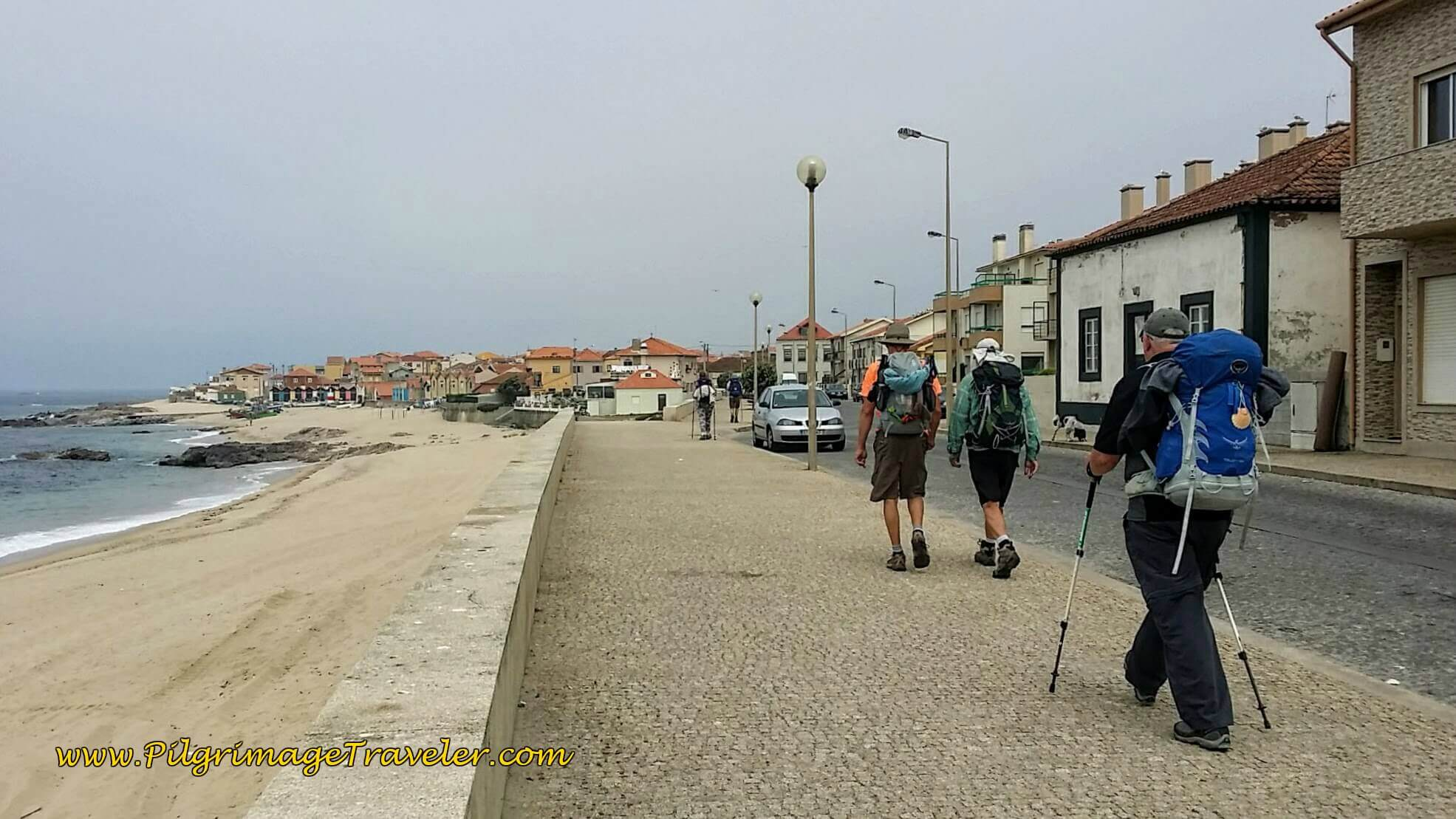 Walking into Vila Chá along the Avenida dos Banhos on day fifteen of the Camino Portugués on the Senda Litoral