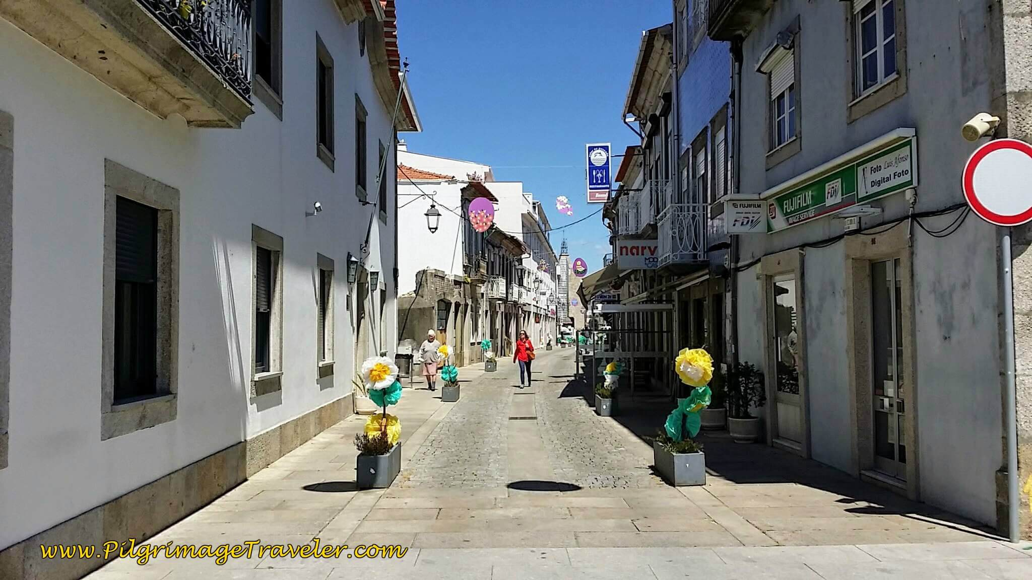 Walking Into Town Center on the Rua Visc. Sousa Rego, Caminha on day eighteen of the Camino Portugués on the Coastal Route