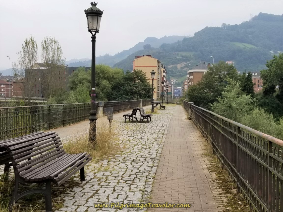 Cross River on the Puente de la Perra in Mieres del Camino on day five of the Camino del Salvador