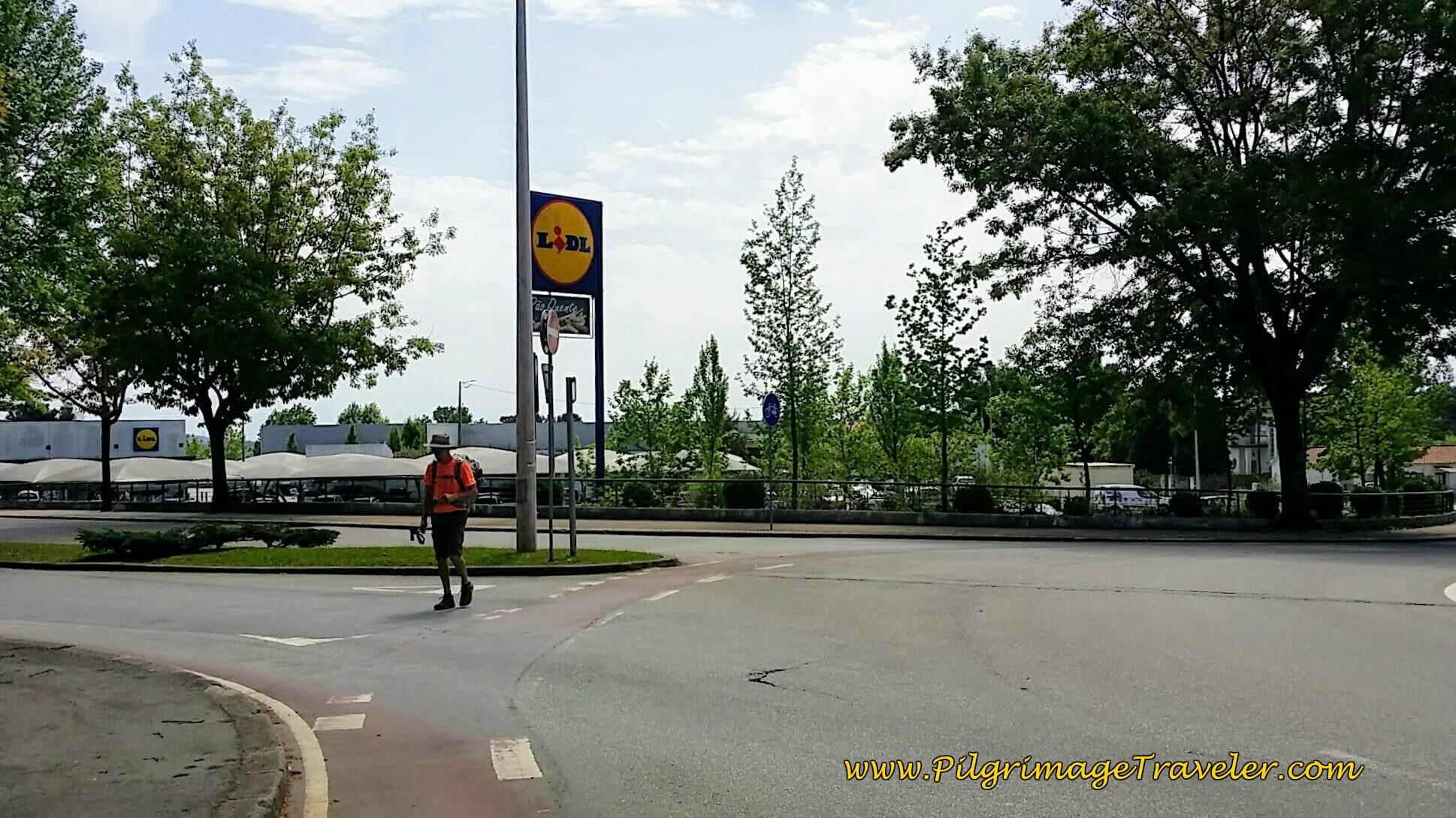 At 2nd Roundabout, Left Onto Rua Dr. Renato Araújo on day thirteen of the Portuguese Camino