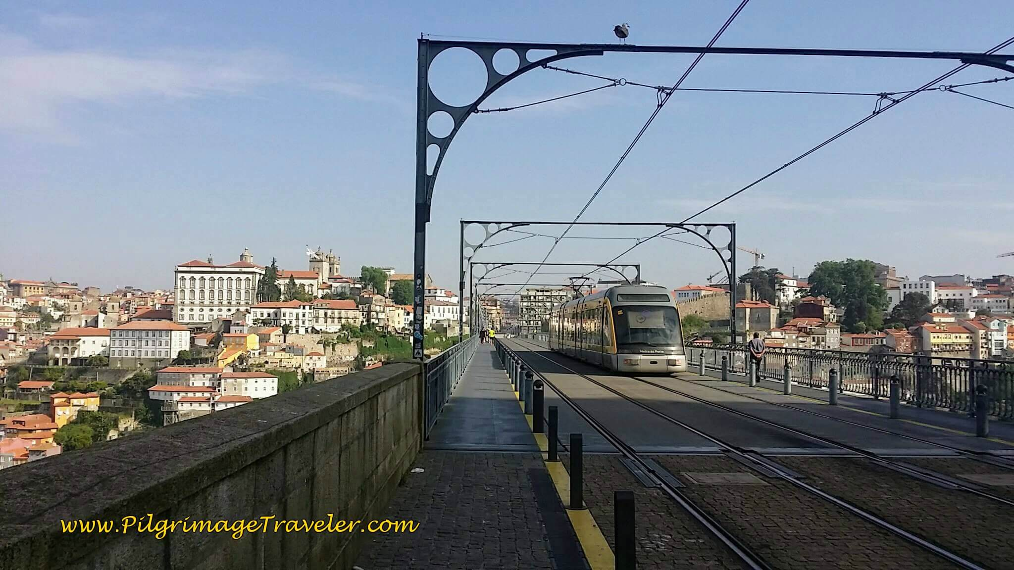 Train and Pedestrian Bridge, the Ponte Luis I Across the Rio Douro on day fourteen of the Camino Portugués