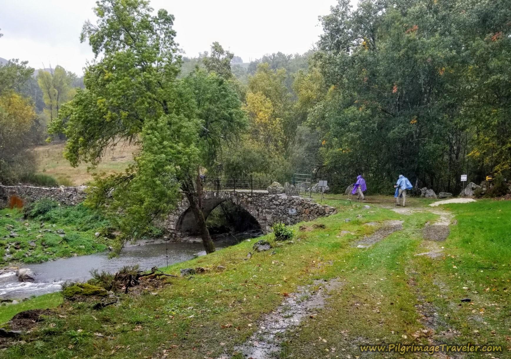 Cross Medieval Bridge on the Camino Sanabrés from Puebla de Sanabria to Lubián