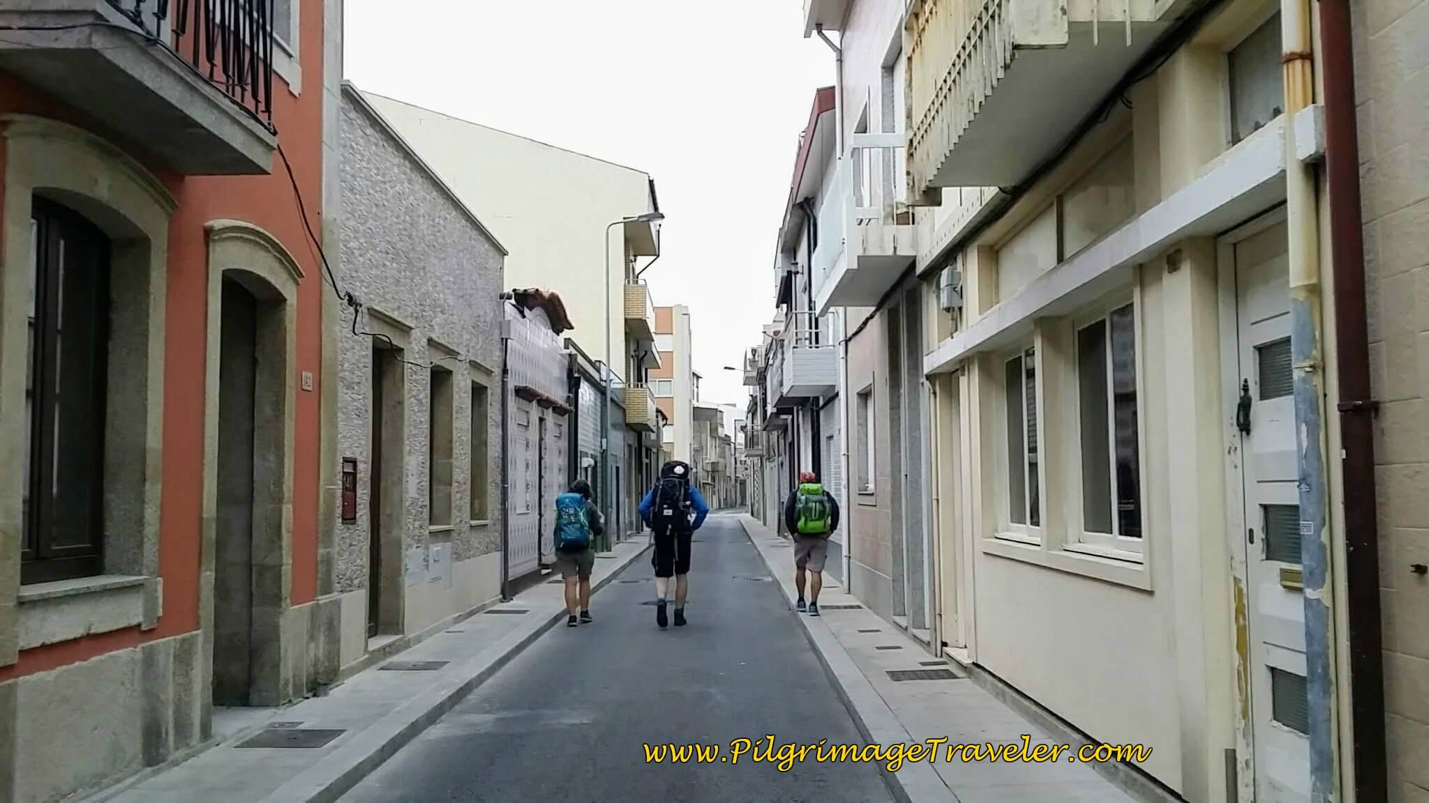 Following Other Early Morning Pilgrims in Póvoa Varzim on day sixteen of the Camino Portugués on the Coastal Route