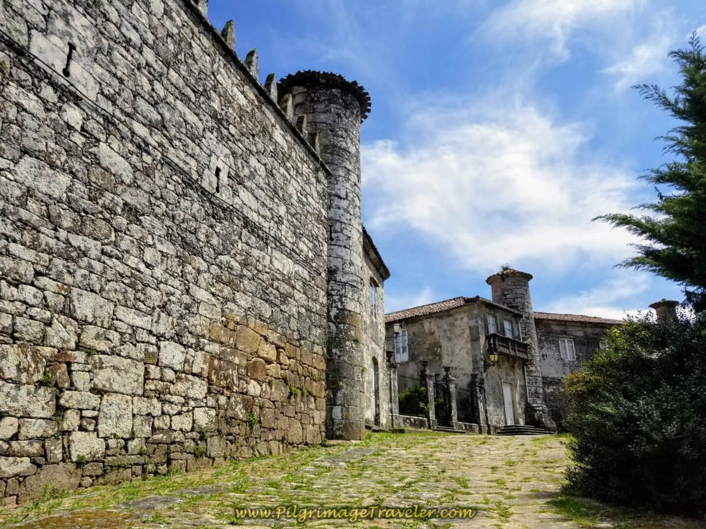 Castle walls of the Pazo do Cotón in Negreira on day one of the Finisterre Way.