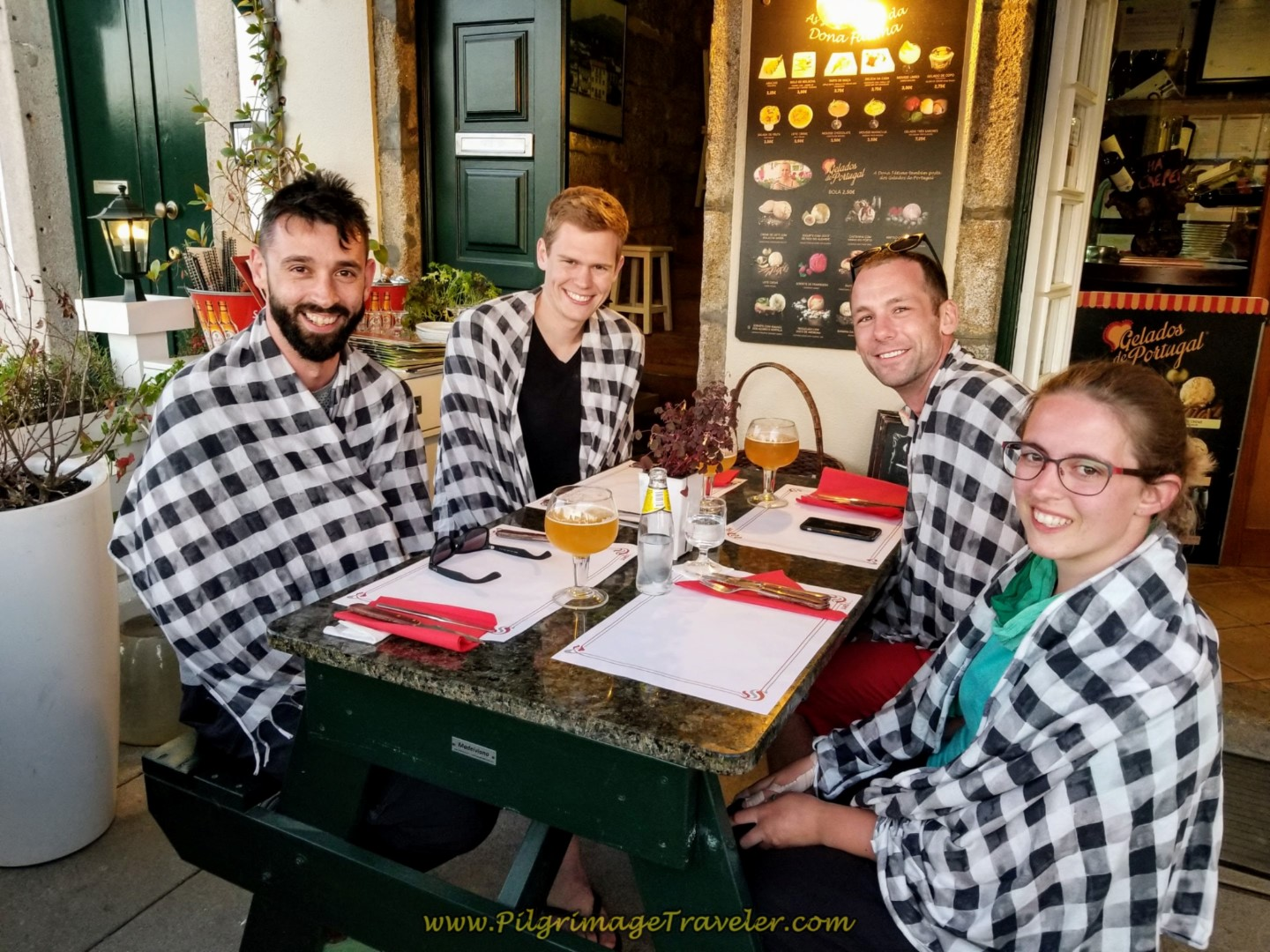 Borut, Magnus, Matt and Magdalena at the Pizzeria by the Medieval Bridge in Ponte de Lima, Portugal