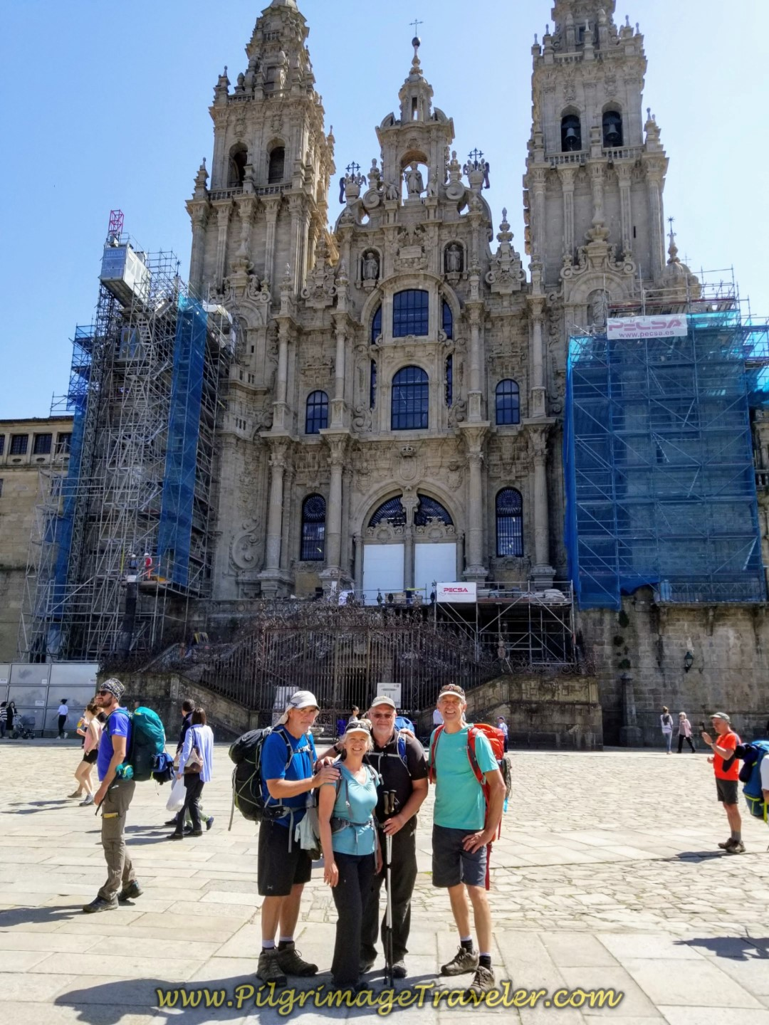 Rob, Elle, Steve and Rich, Happy Pilgrimage Travelers in Obradoiro Square on day eight of the English Way