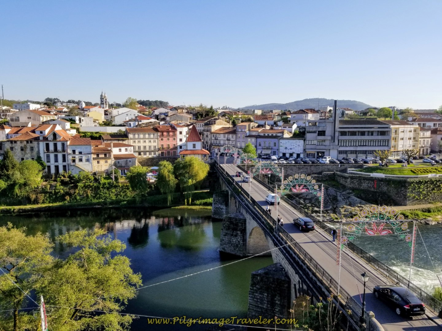 View from Barcelos Palace, of Barcelinho, overlooking the Cádavo River on day sixteen on the Central Route of the Portuguese Camino