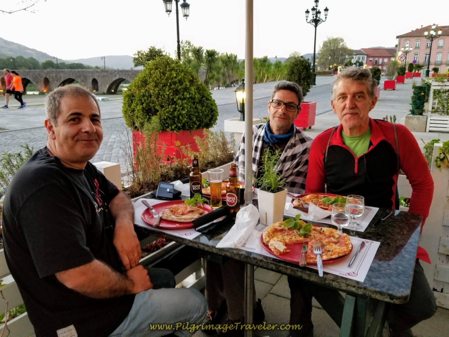 Pedro, Jorge and Rich at the Pizzeria by the medieval bridge in Ponte de Lima