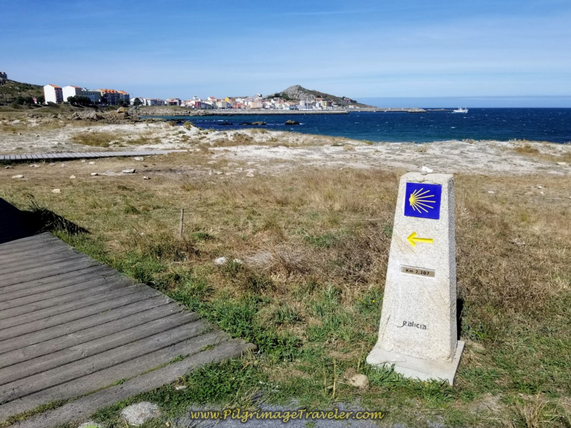 Boardwalk and Beach Begin at 2.207 Kilometer Waymark