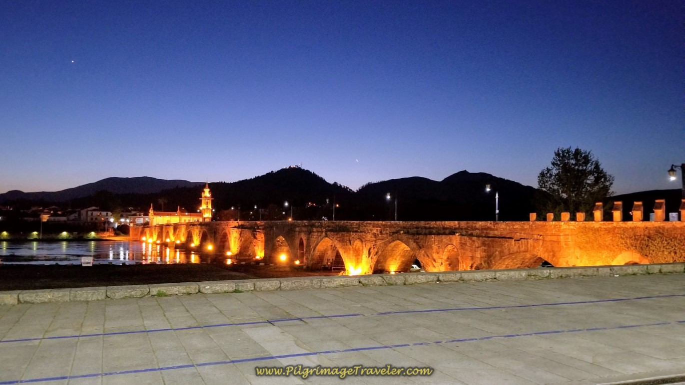 The Ponte de Lima Medieval Bridge at Night on day seventeen on the Central Route of the Camino Portugués