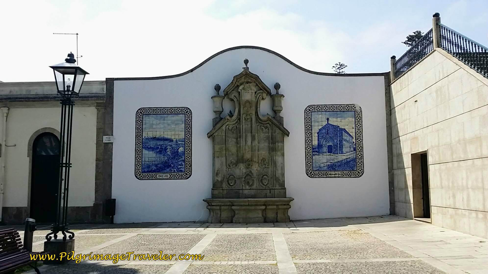 Fountain with Murals in the Praça de São João, Vila do Conde, Portugal on day fifteen of the Camino Portugués