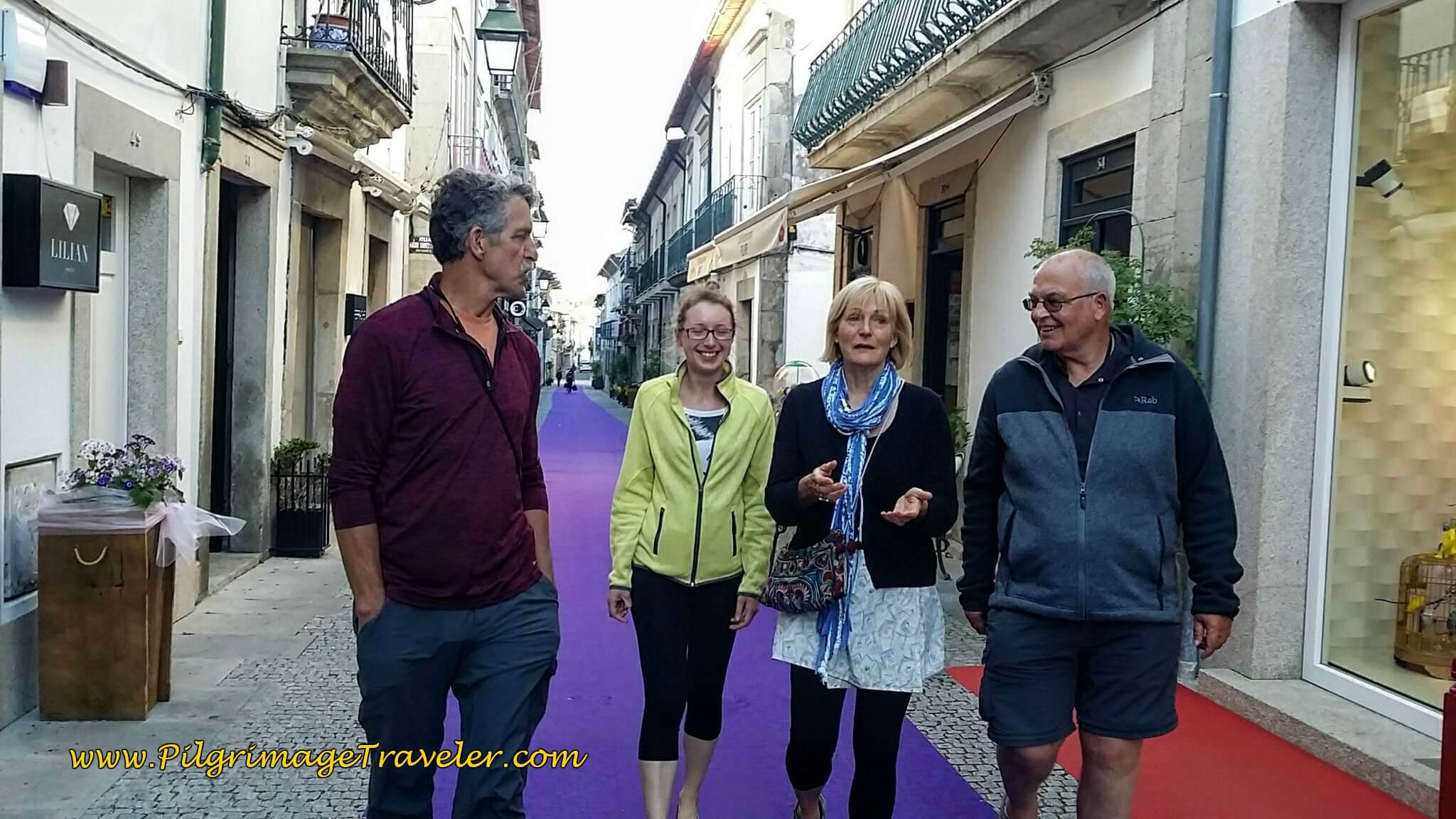 Rich, Tatiana, Yanni and Steve, Out to Dinner in Viana do Castelo on day seventeen of the Portugese Camino