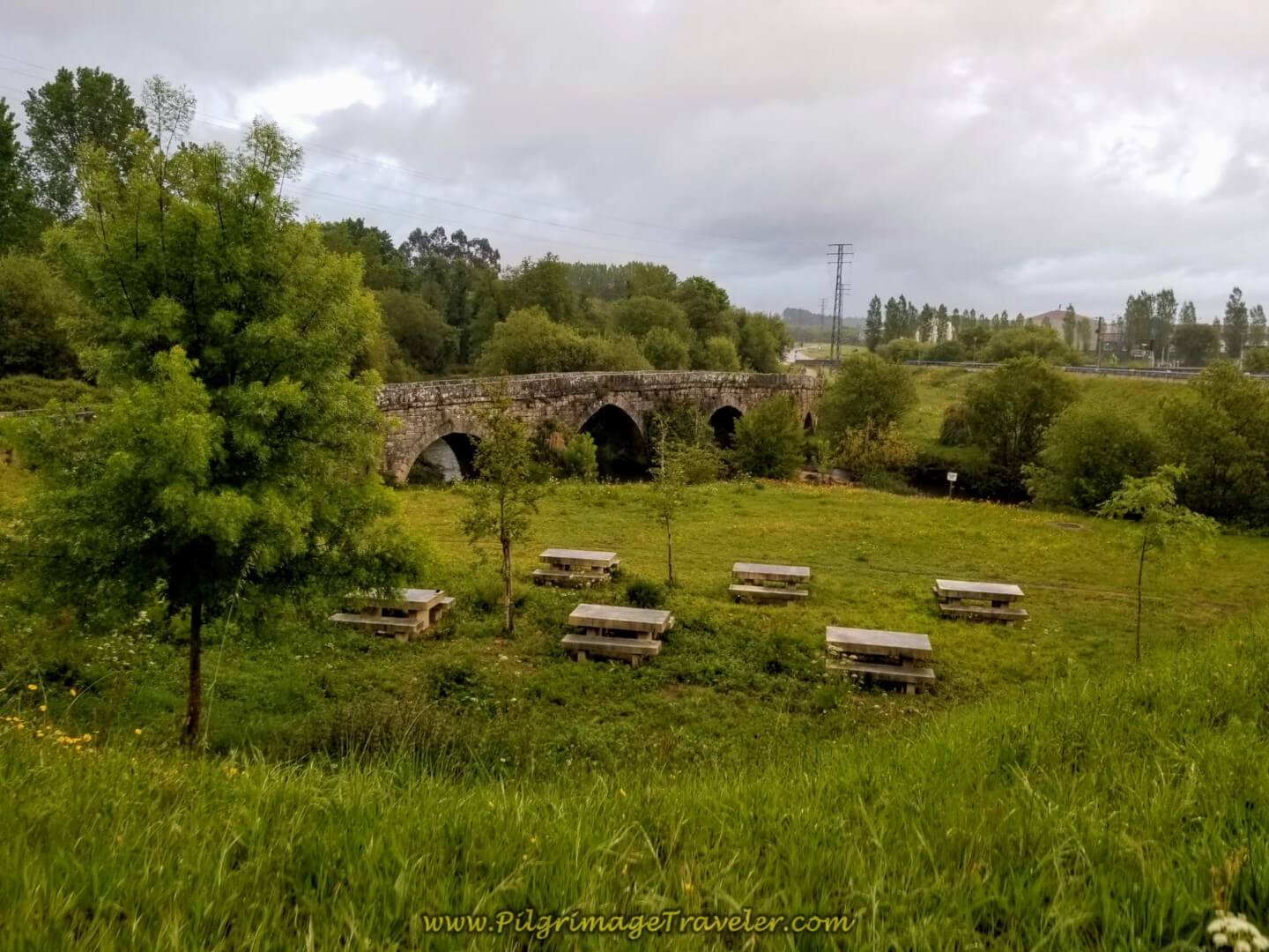 Picnic Area at Roman Bridge, Puente de A Veiga on day twenty on the central route of the Portuguese Camino