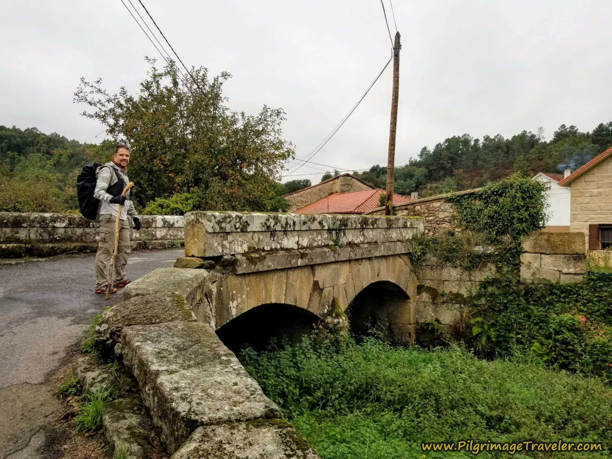 Miguel on Old Bridge in Soutelo Verde, Camino Sanabrés,  A Laza to Vilar de Barrio
