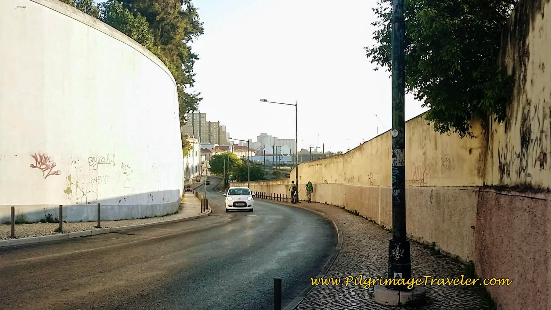 High Walls Along the Calçada da Cruz da Pedra, Lisbon, Portugal