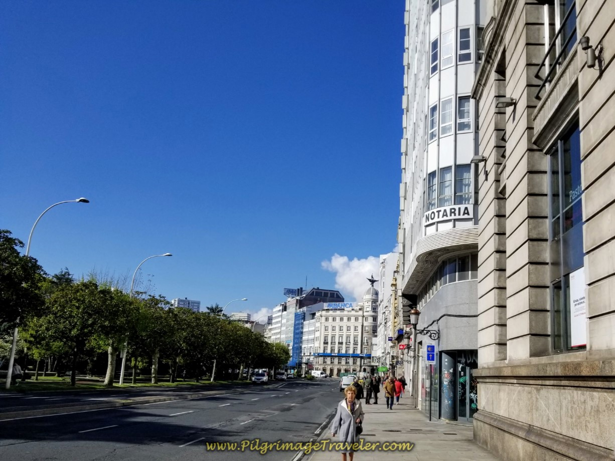 Head Toward the Abanca with Winged Sculpture on day one of the La Coruña Arm of the Camino Inglés