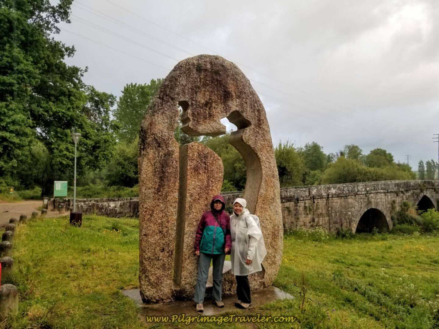 Glyvia and Elle by the Puente de A Veiga on day twenty on the central route of the Portuguese Camino
