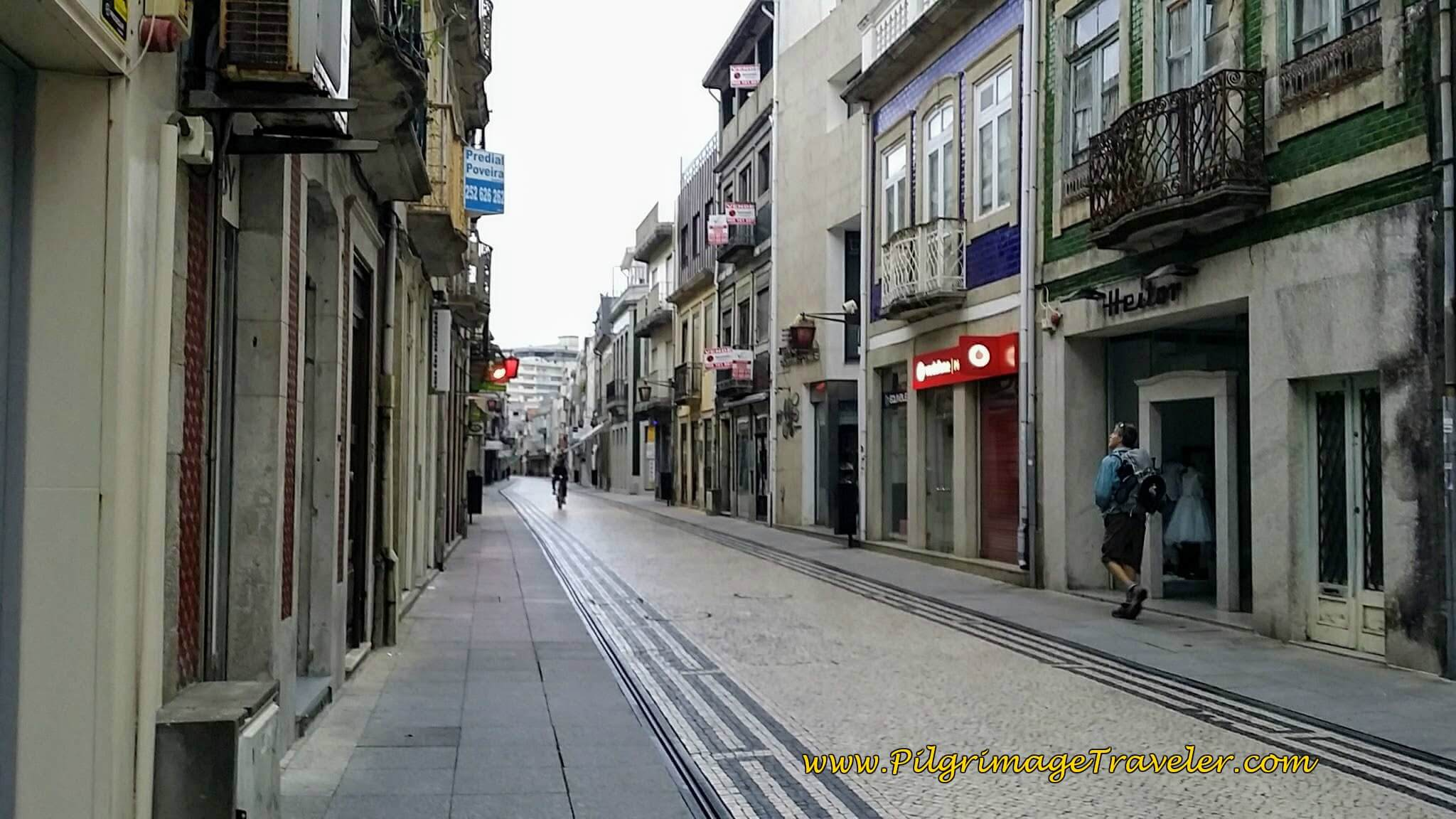 Sleeping Shopping Street of the Rua da Junqueira in Póvoa Varzim on day sixteen of the Camino Portugués on the Coastal Route