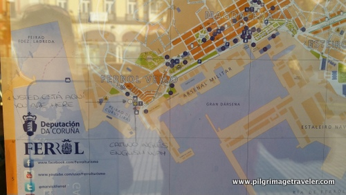 Tourist Map at the Tourist Booth, Ferrol, Spain