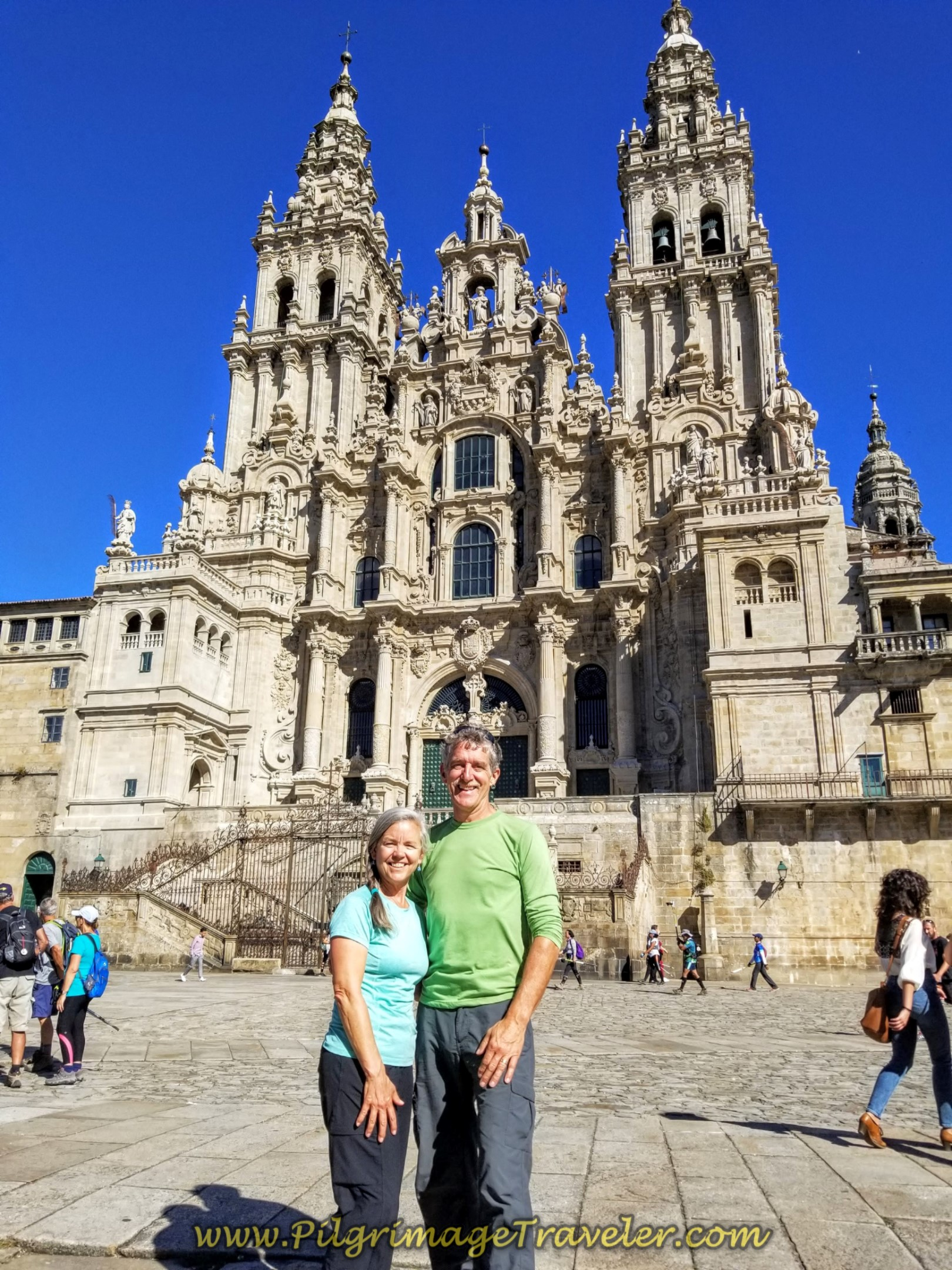 Rich and Elle at the Cathedral of Santiago de Compostela