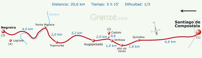 Route Map of Day One, Camino Finisterre